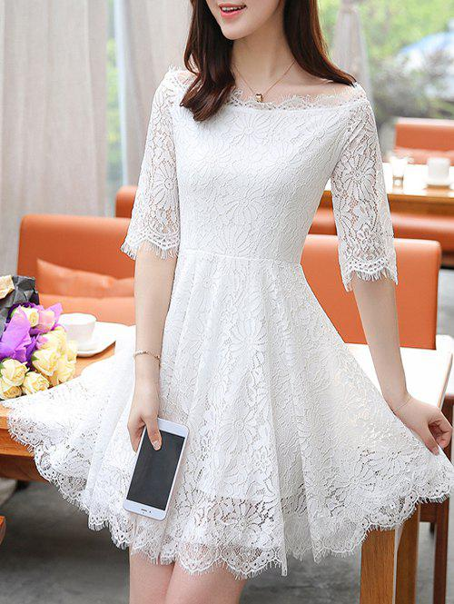 Charming Boat Neck Eyelash Lace Hollow Out Women's Dress
