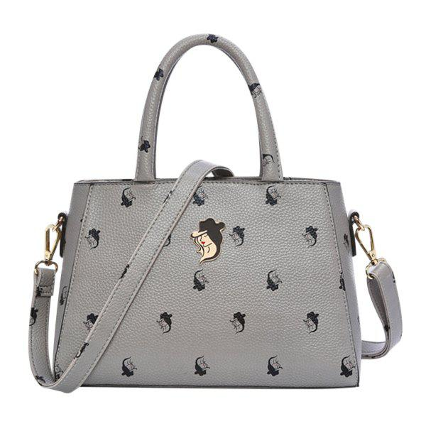 Stylish Metal and Print Design Women's Tote Bag - DEEP GRAY