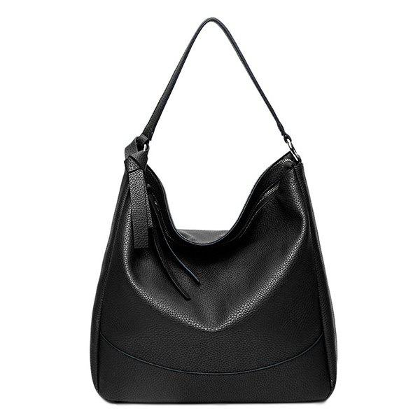 Trendy Zippers and PU Leather Design Women's Shoulder Bag -  BLACK