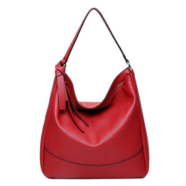 Trendy Zippers and PU Leather Design Women's Shoulder Bag - WINE RED