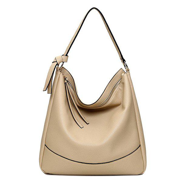 Trendy Zippers and PU Leather Design Women's Shoulder Bag - APRICOT