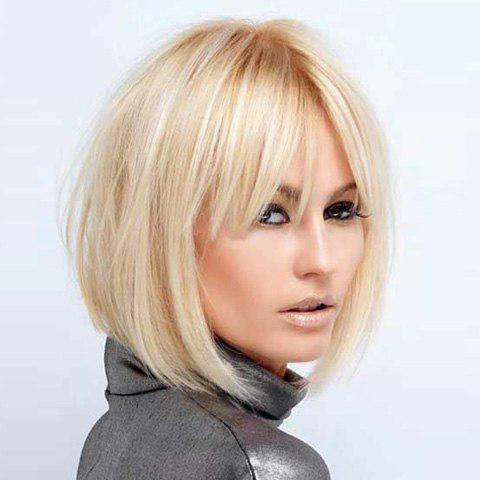 Fashion Short Straight Side Bang Human Hair Wig For Women - GOLDEN BROWN/BLONDE