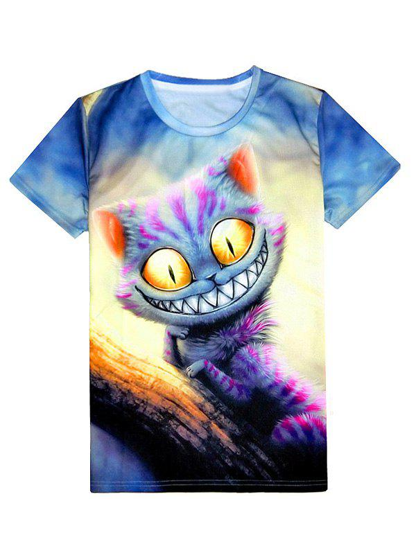 Round Neck Cat 3D Print Men's Short Sleeve T-Shirt - BLUE GRAY 2XL