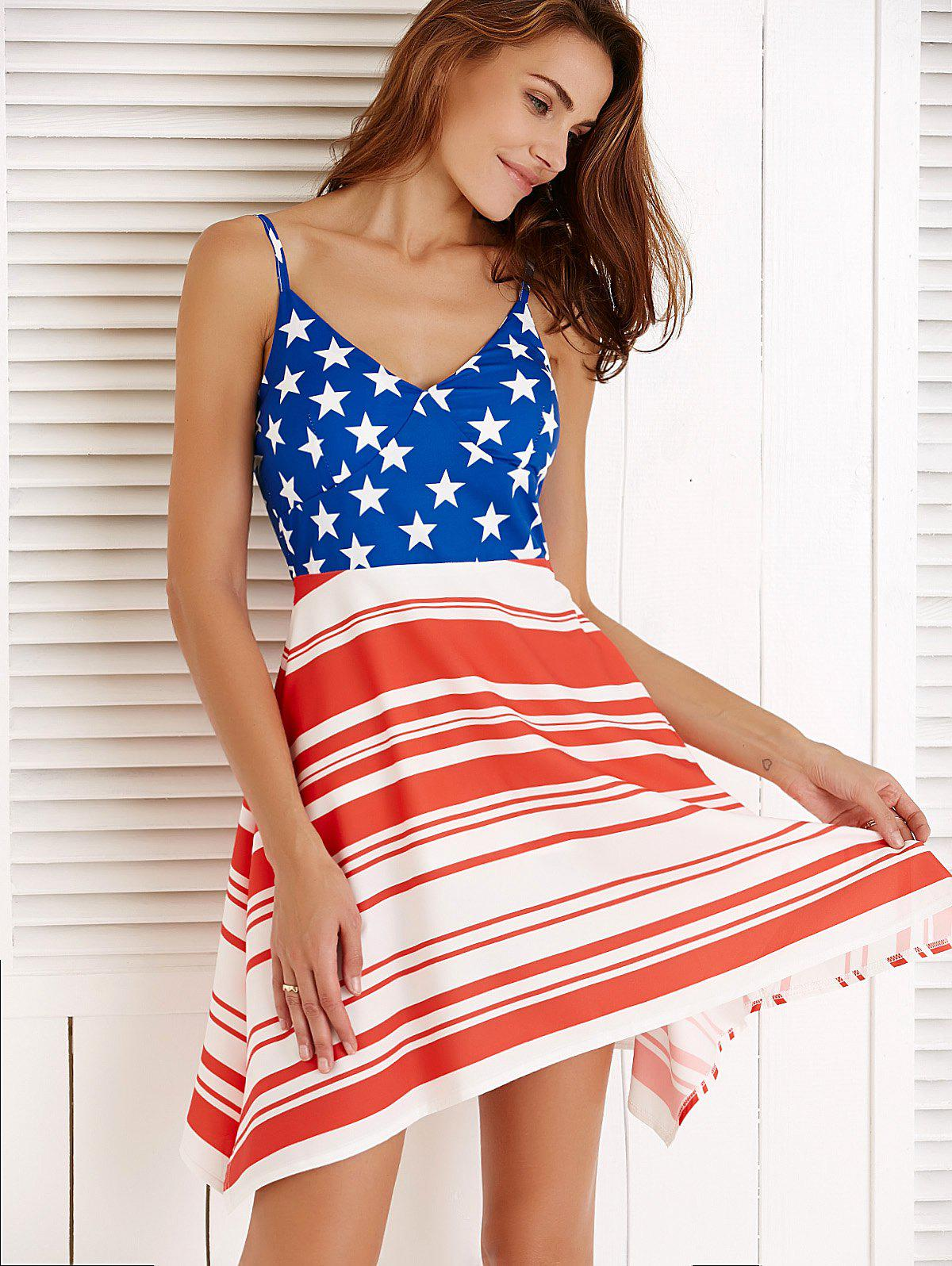 Flag Print Spaghetti Strap Asymmetric Summer Dress
