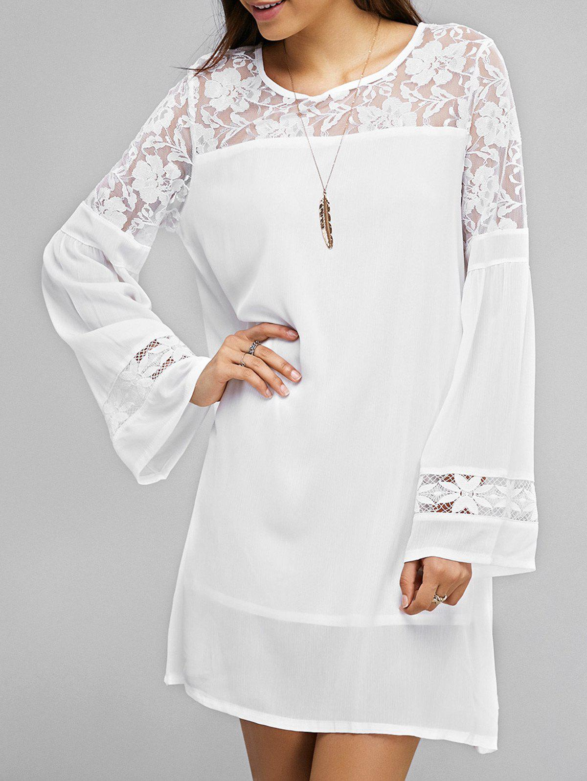 Lace Splicing Bell Sleeve Loose Dress - WHITE XL
