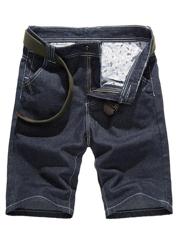 Stitching Design Pure Color Denim Shorts For Men