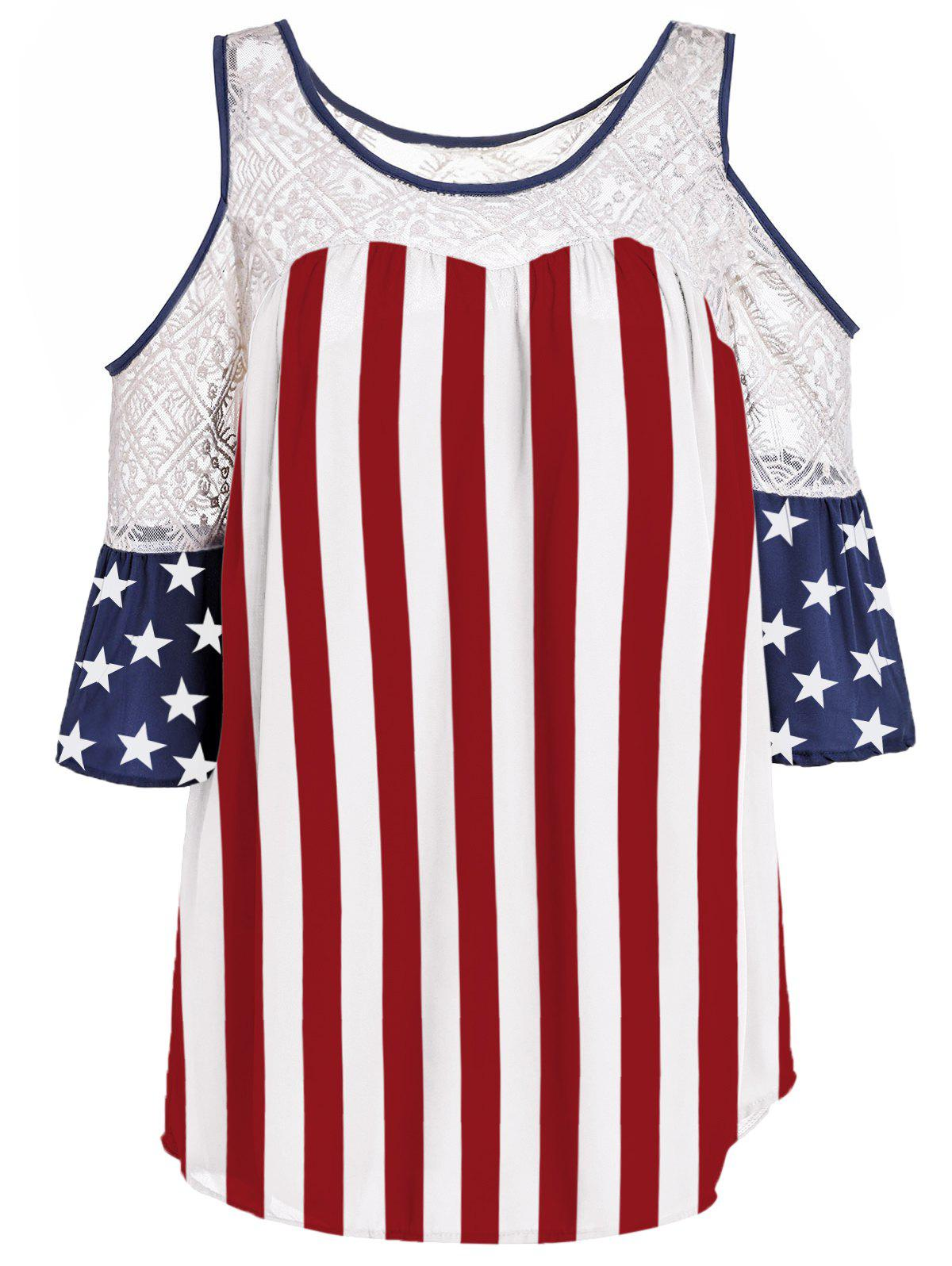 Lace Spliced Cold Shoulder Flag Pattern T-Shirt - RED/WHITE/BLUE XL