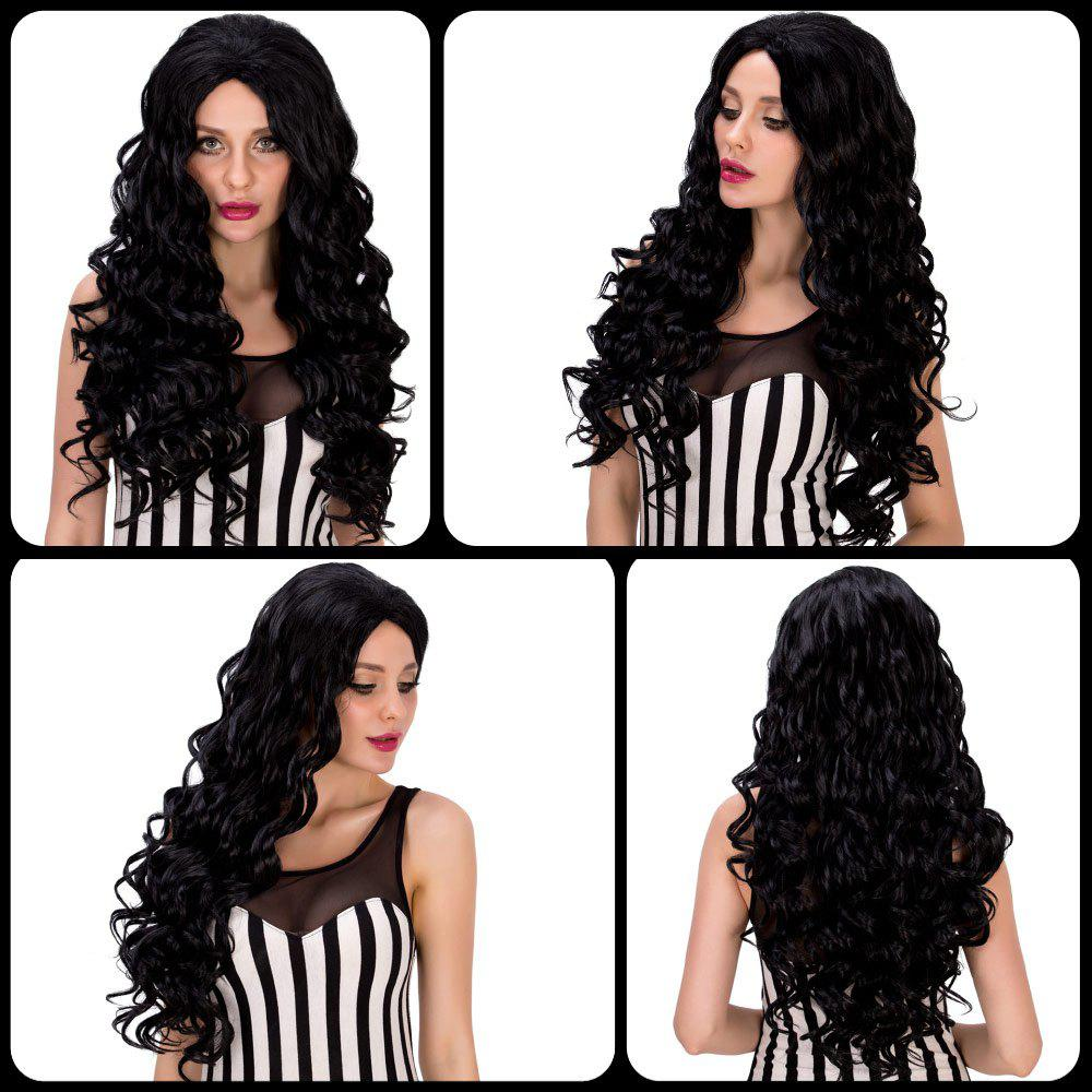 Faddish Women\'s Long Curly Black Synthetic Hair Wig - BLACK