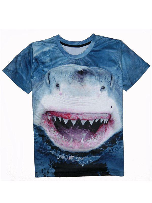 Shark 3D Print Round Neck Men's Short Sleeve T-Shirt - DEEP BLUE 2XL