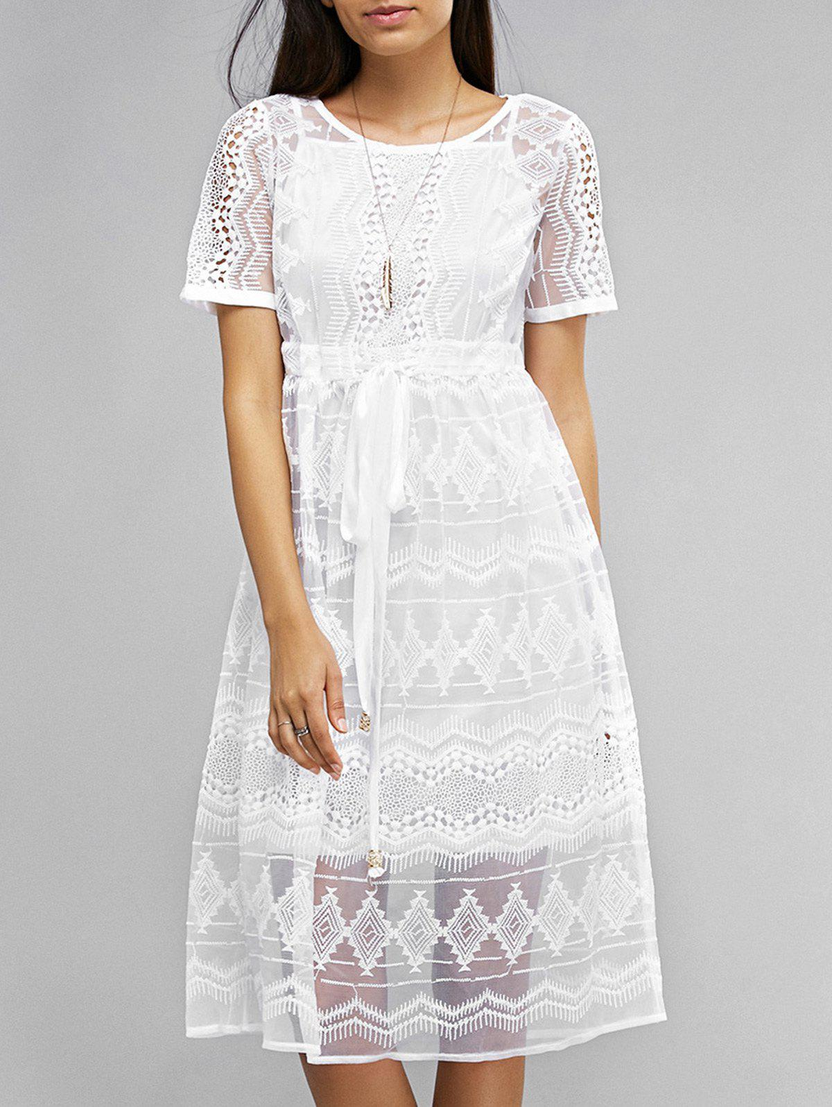 Tank Top and Loose Lace Dress - XL WHITE