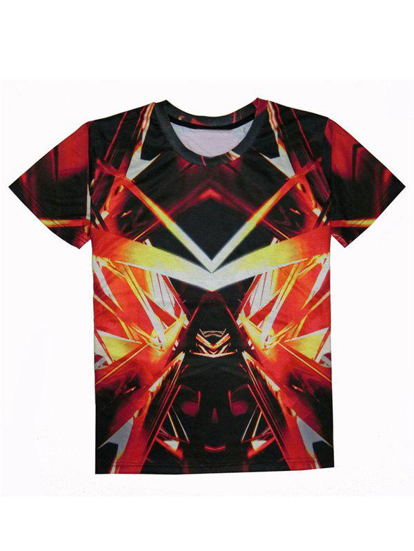 Abstract 3D Print Round Neck Short Sleeve Men's T-Shirt - RED 2XL