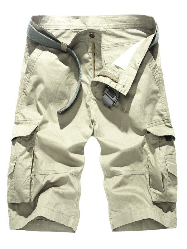 Pockets Design Loose-Fitting Cago Shorts For Men - OFF WHITE 40