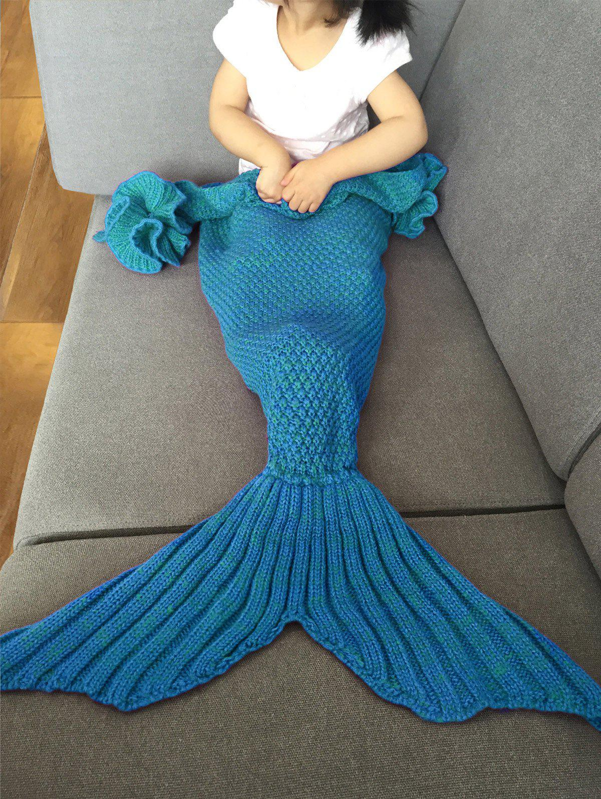 Fashion Knitted Falbala Shape Mermaid Tail Design Blankets For Baby - BLUE