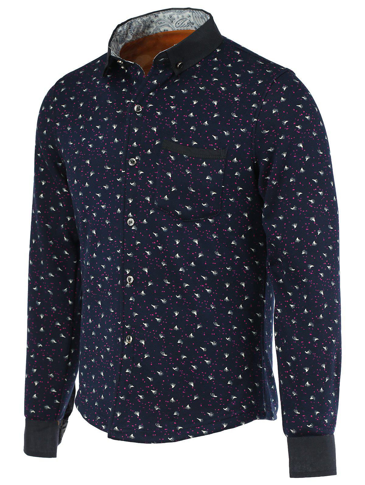 Ink Dot and Feather Print Fleece Turn-Down Collar Long Sleeve Button-Down Men's Shirt - CADETBLUE L