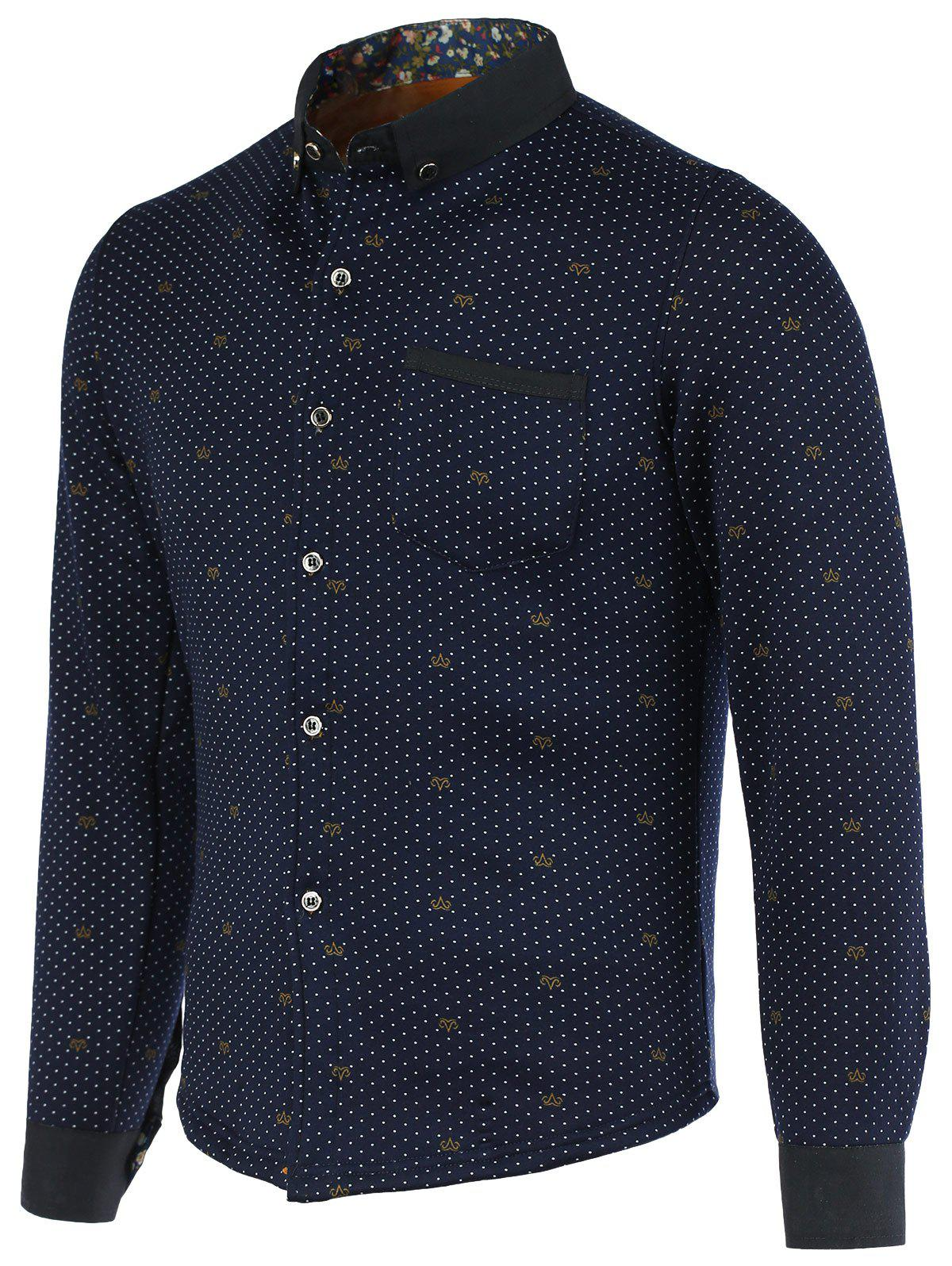 Polka Dot Fleece Turn-Down Collar Long Sleeve Button-Down Men's Shirt - 3XL PURPLISH BLUE