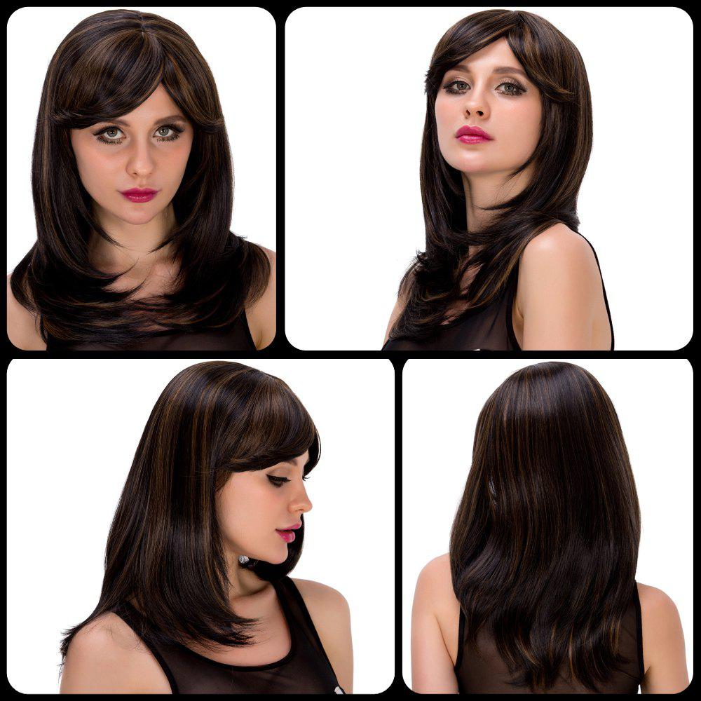 Fashion Women's Long Straight Tail Adduction Mixed Color Side Bang Synthetic Hair Wig