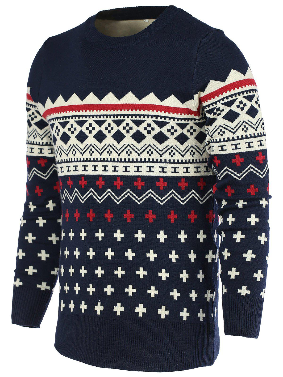 Color Block Geometric Print Round Neck Long Sleeve Men's Sweater - CADETBLUE 2XL