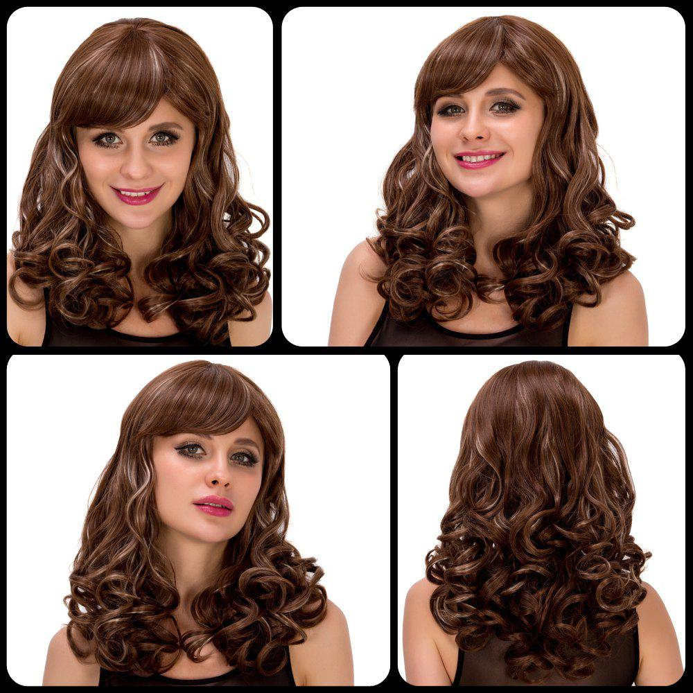 Fashion Women's Medium Curly Ombre Color Side Bang Synthetic Hair Wig