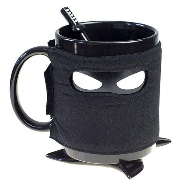 Creative Drinkware Black Ninja Masked Pirate Design Mug - BLACK