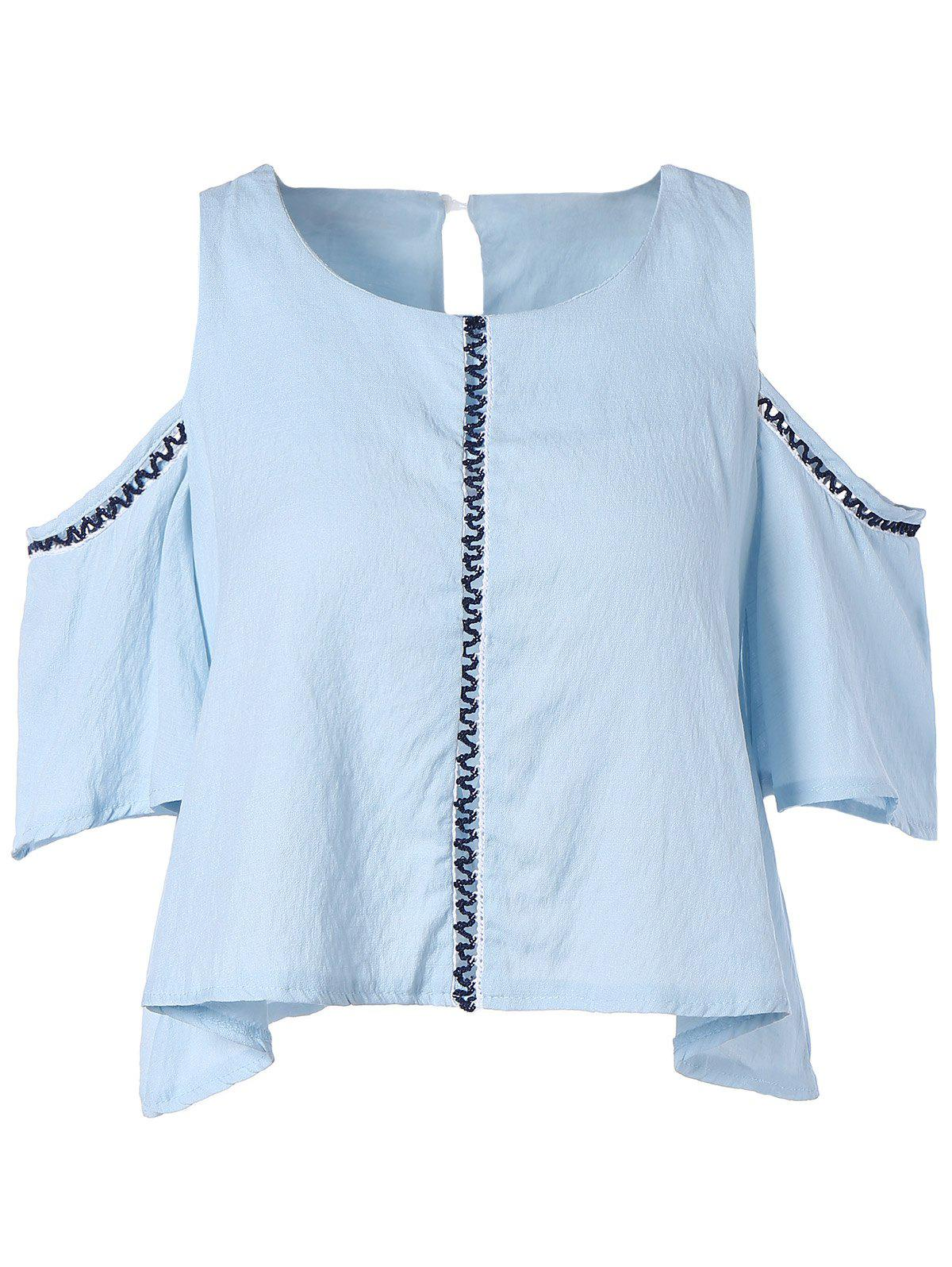 Cut Out Candy Color Blouse - LIGHT BLUE ONE SIZE