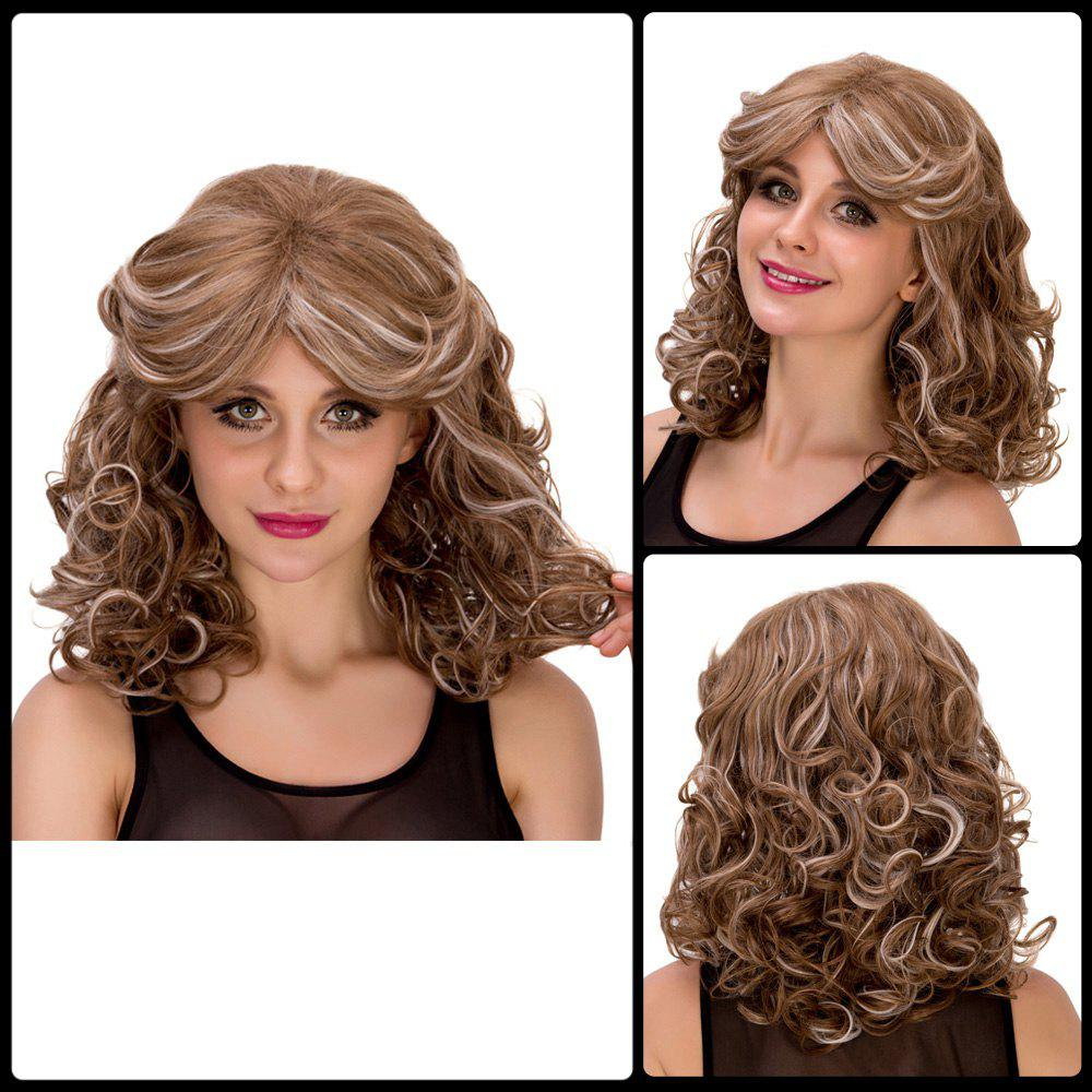 Women's Medium Curly Ombre Color Side Bang Fashion Synthetic Hair Wig - COLORMIX
