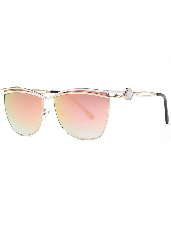 Stylish Pink Crossbar Cut Out Mirrored Sunglasses - PINK