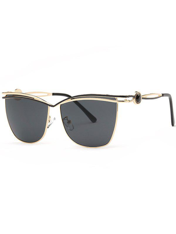 Stylish Crossbar Cut Out Sunglasses - BLACK GREY