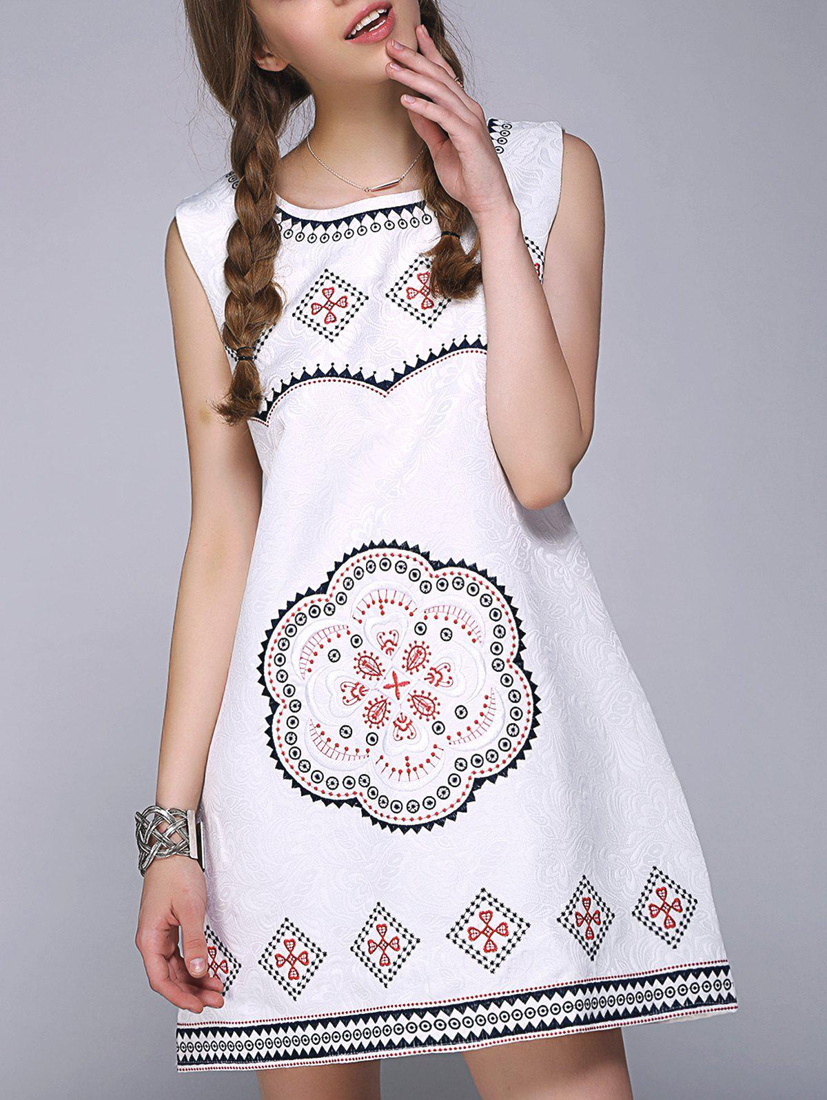 Sweet Floral Geometric Embroidered Sleeveless A Line DressWomen<br><br><br>Size: ONE SIZE<br>Color: WHITE