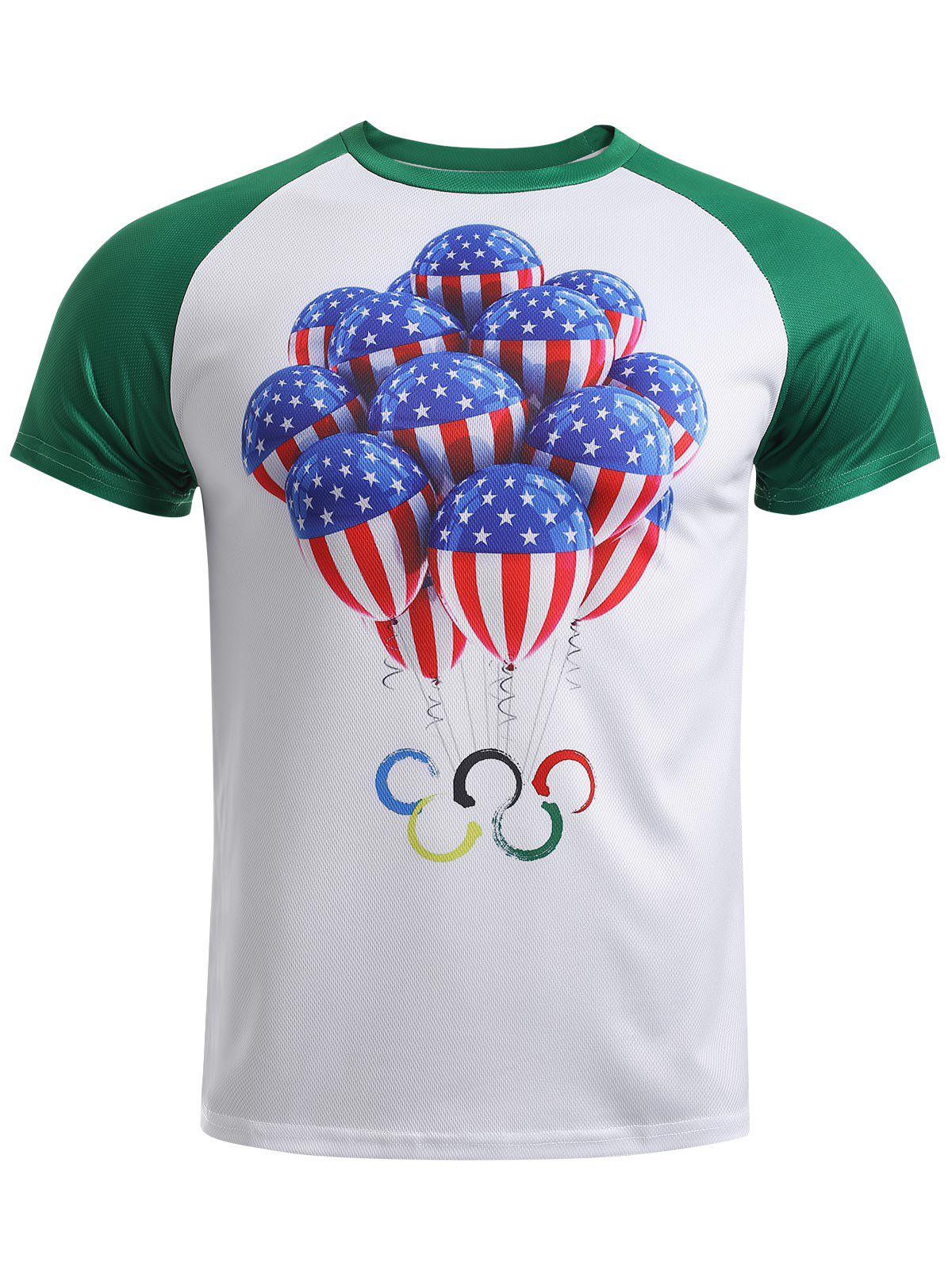 Olympic Balloon Print Round Neck Raglan Sleeve T-Shirt