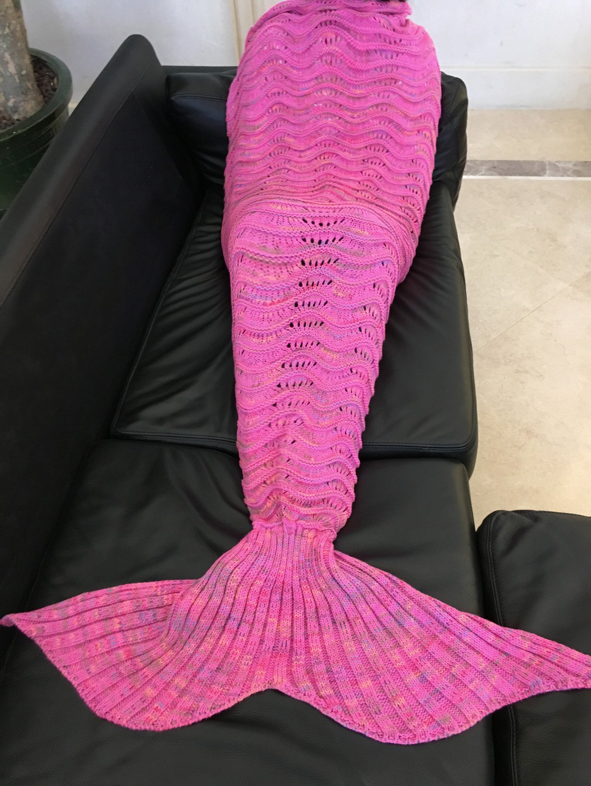 Handmade Knitted Mermaid Tail Design Blanket - ROSE RED