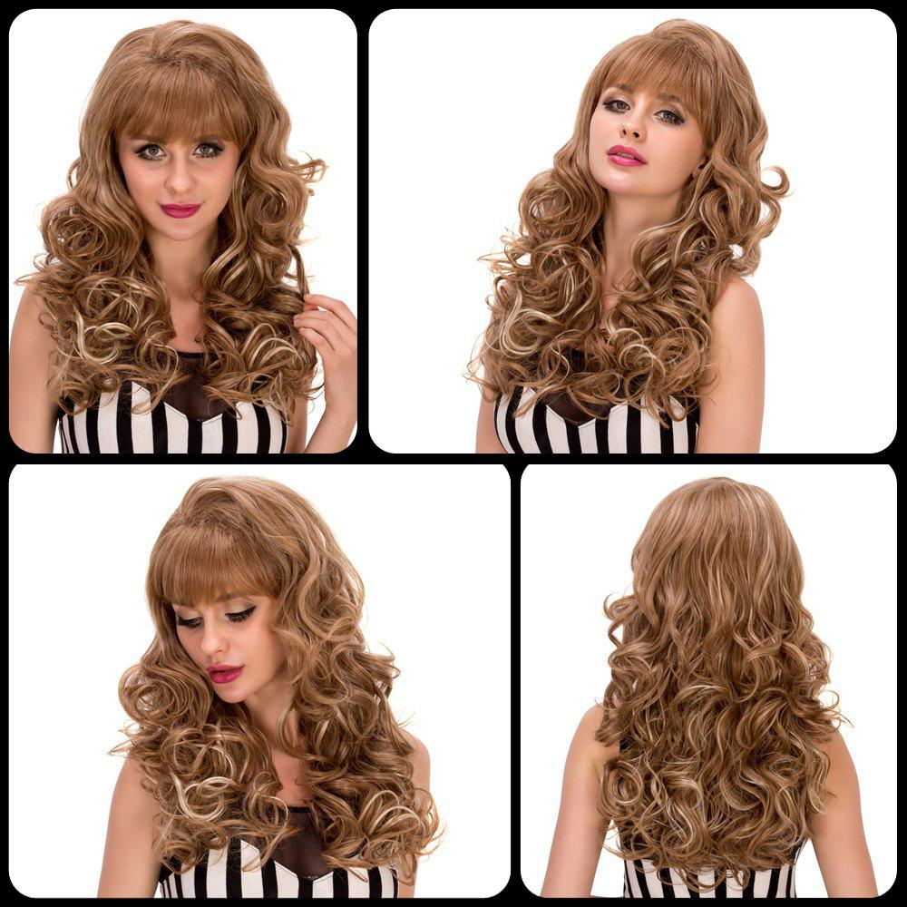 Women's Long Curly Ombre Color Full Bang Fashion Synthetic Hair Wig