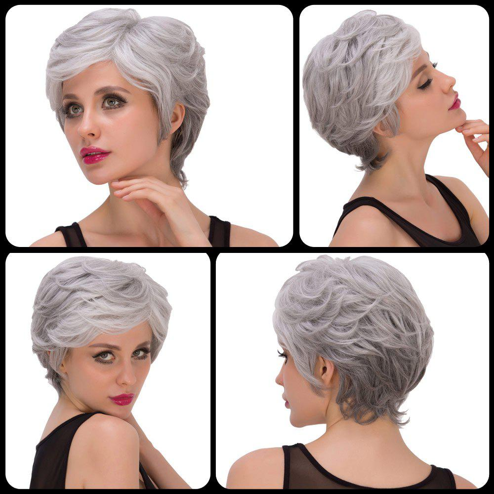 Fashion Women's Short Fluffy Side Parting Silver Gray Synthetic Hair Wig