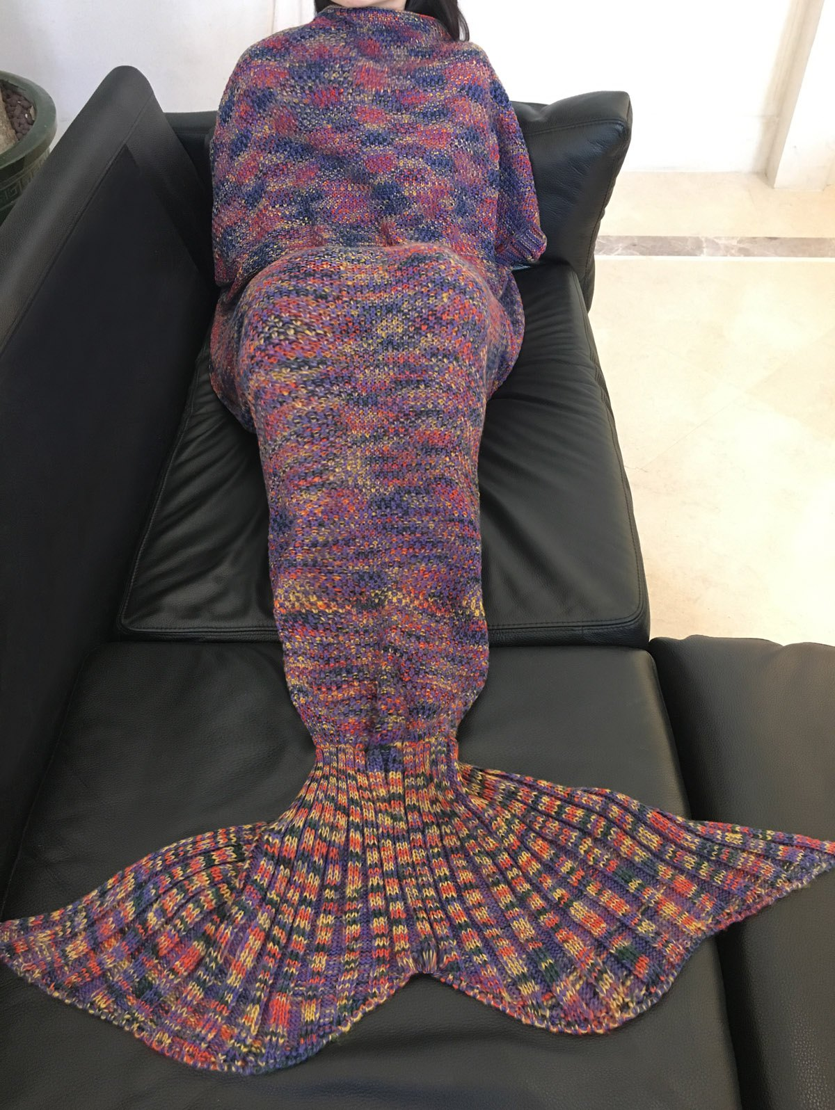 Chic Quality Colorful Printed Warmth Wool Knitted Mermaid Tail Design Blanket - PURPLE