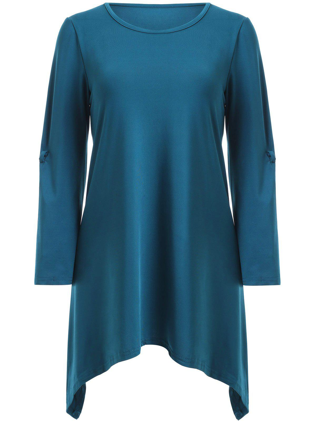 Stylish Scoop Neck Solid Color Ruched 3/4 Sleeve Irregular T-Shirt For Women stylish scoop neck solid color ruched 3 4 sleeve irregular t shirt for women