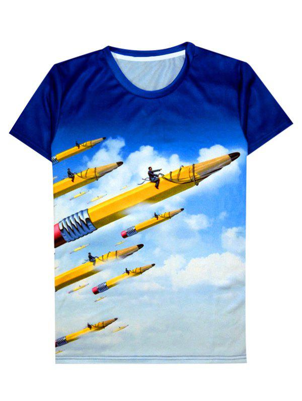 Round Neck 3D Abstract Volitant Pencil Pattern Short Sleeve Men's T-Shirt - COLORMIX 2XL
