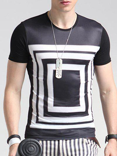 Geometric Print Round Neck Short Sleeve Men's T-Shirt - BLACK 3XL