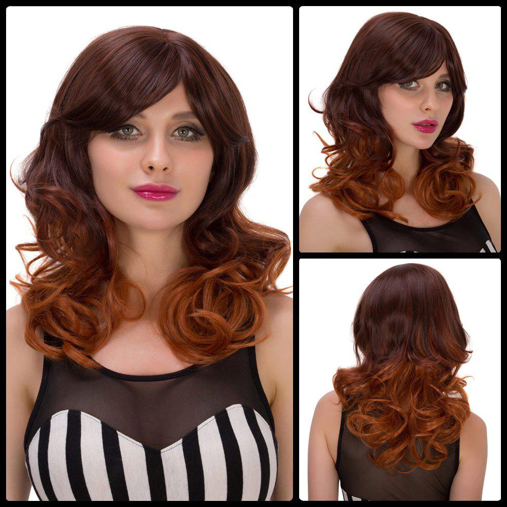Attractive Women's Medium Curly Ombre Color Side Bang Synthetic Hair Wig