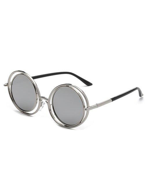 Stylish Trendsetter Round Mirrored Sunglasses - SILVER
