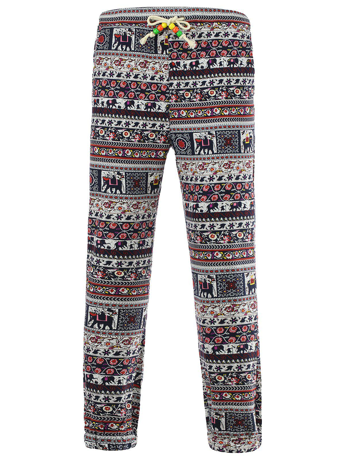 Tiny Floral and Elephant Print Spliced Lace-Up Beam Feet Cotton+Linen Men's Pants - 4XL COLORMIX