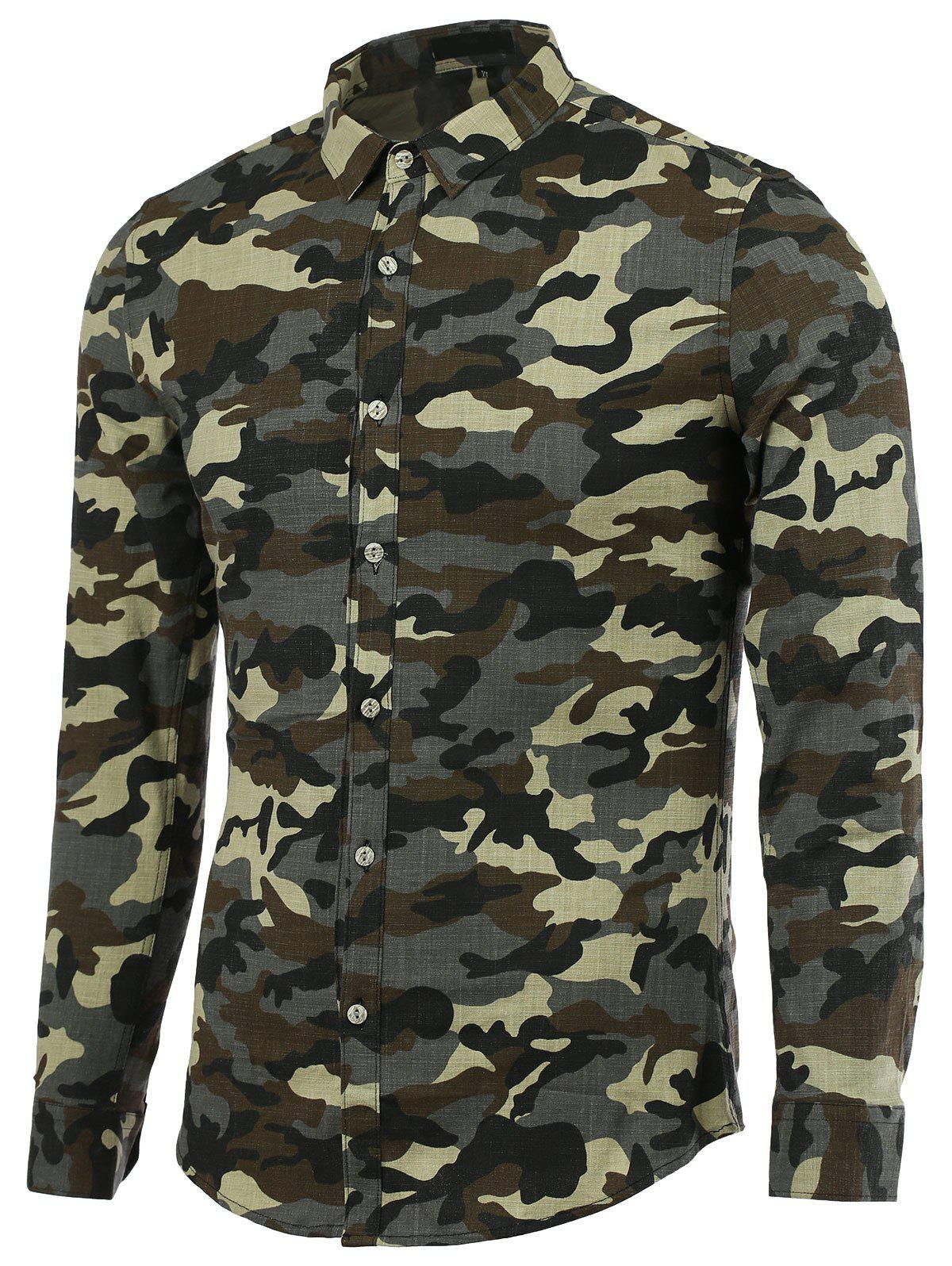 Camouflage Turn-Down Collar Long Sleeve Men's Shirt - ARMY GREEN 2XL