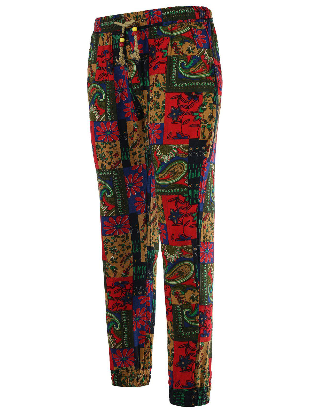 Ethnic Style Paisley Print Lace-Up Beam Feet Cotton+Linen Men's Pants - COLORMIX 2XL