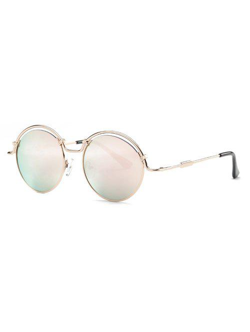 Stylish Pink Wire Frame Mirrored Sunglasses - PINK