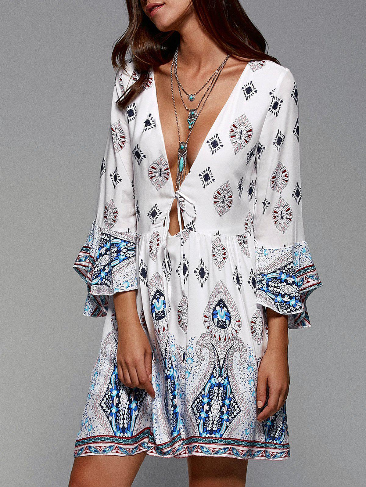 Tribal Print Plunging Neck Flare Sleeve Dress - WHITE XL