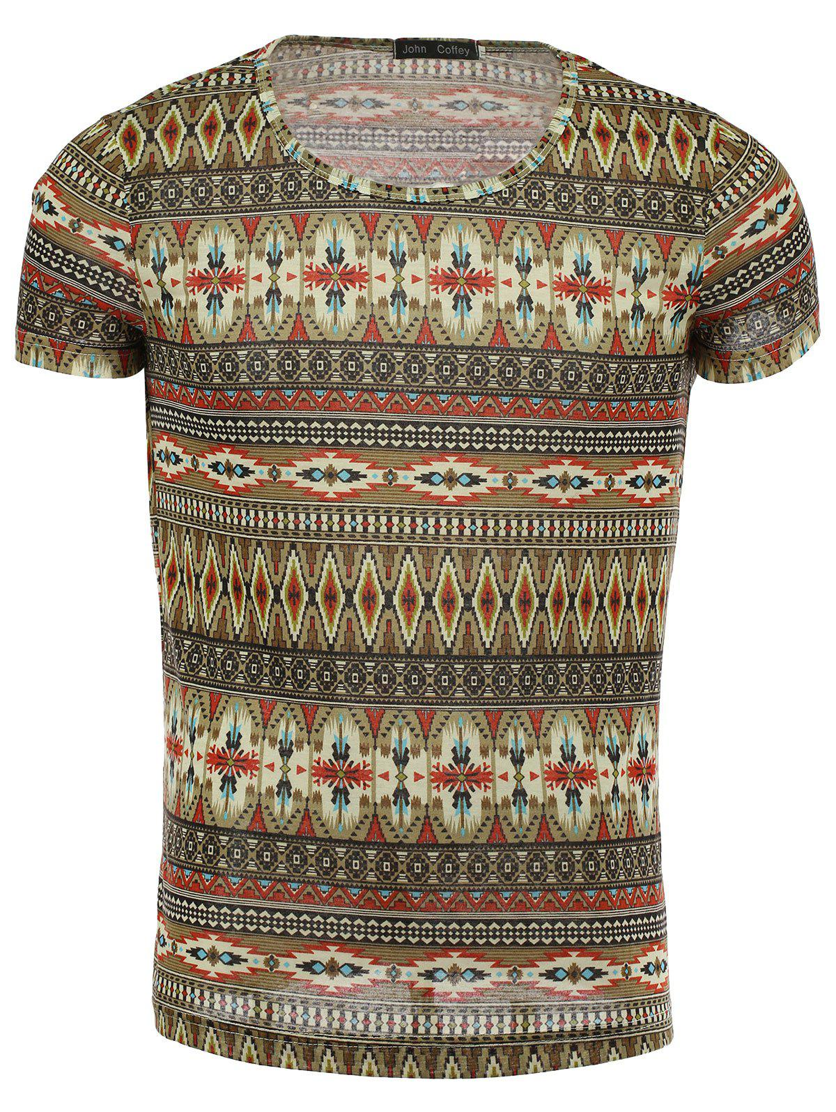 Ethnic Style Geometric Pattern Round Neck Short Sleeve Men's T-Shirt - RED XL