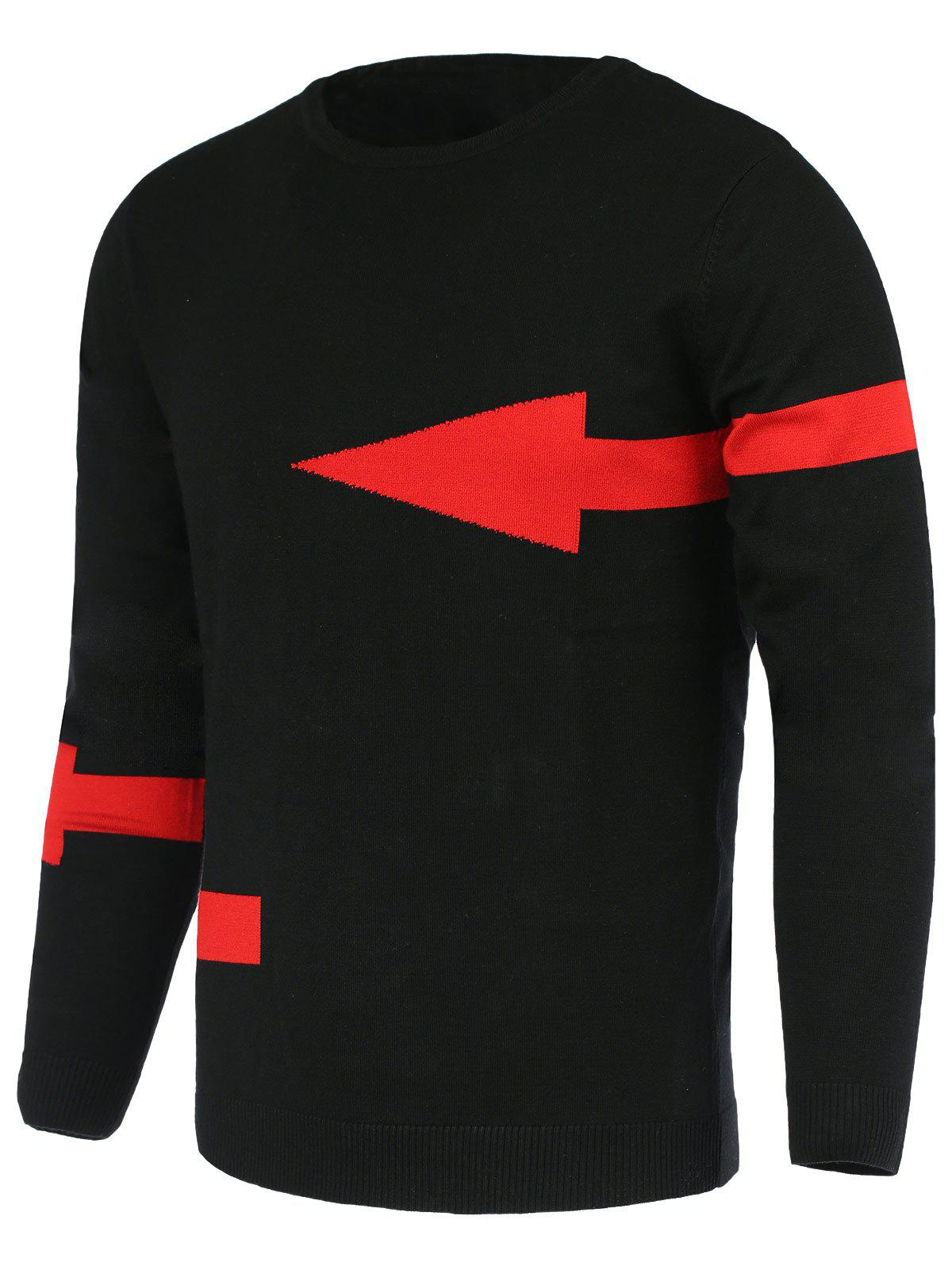 Solid Color Arrows Pattern Slimming Men's Round Neck Long Sleeves Sweater - BLACK 2XL