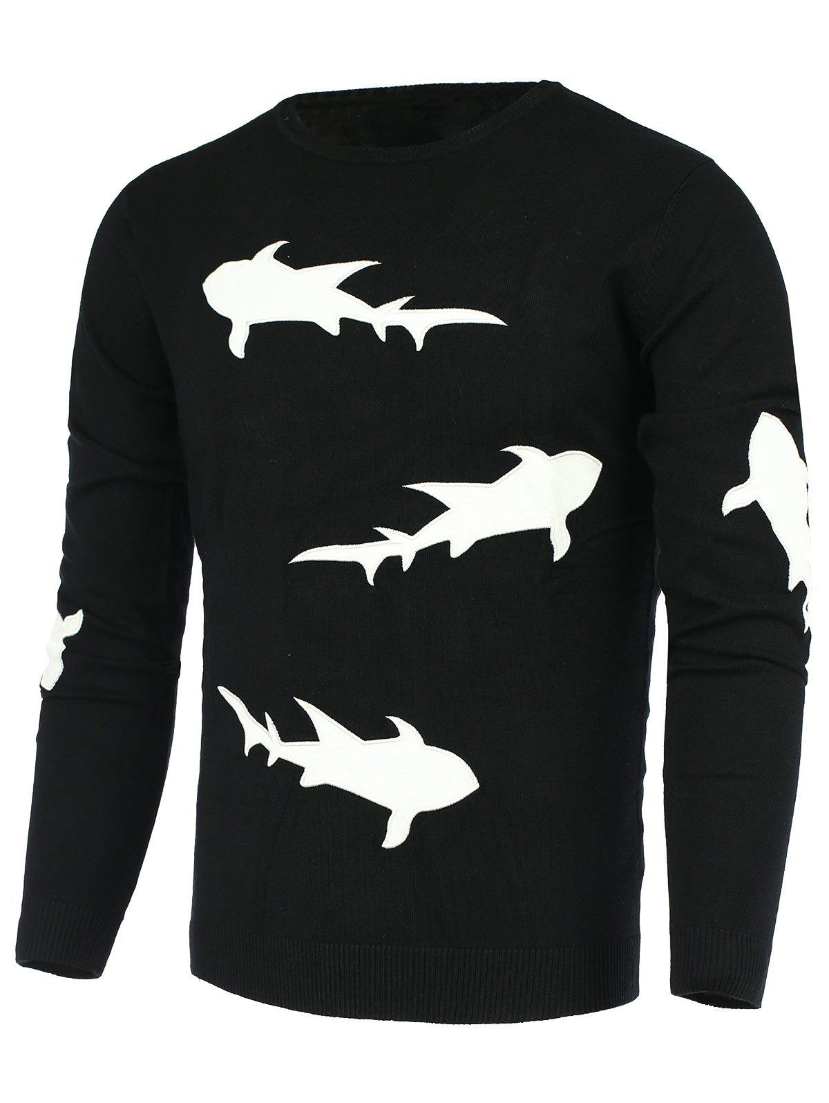 Laconic Round Neck 3D Shark Pattern Slimming Men's Long Sleeves Sweater