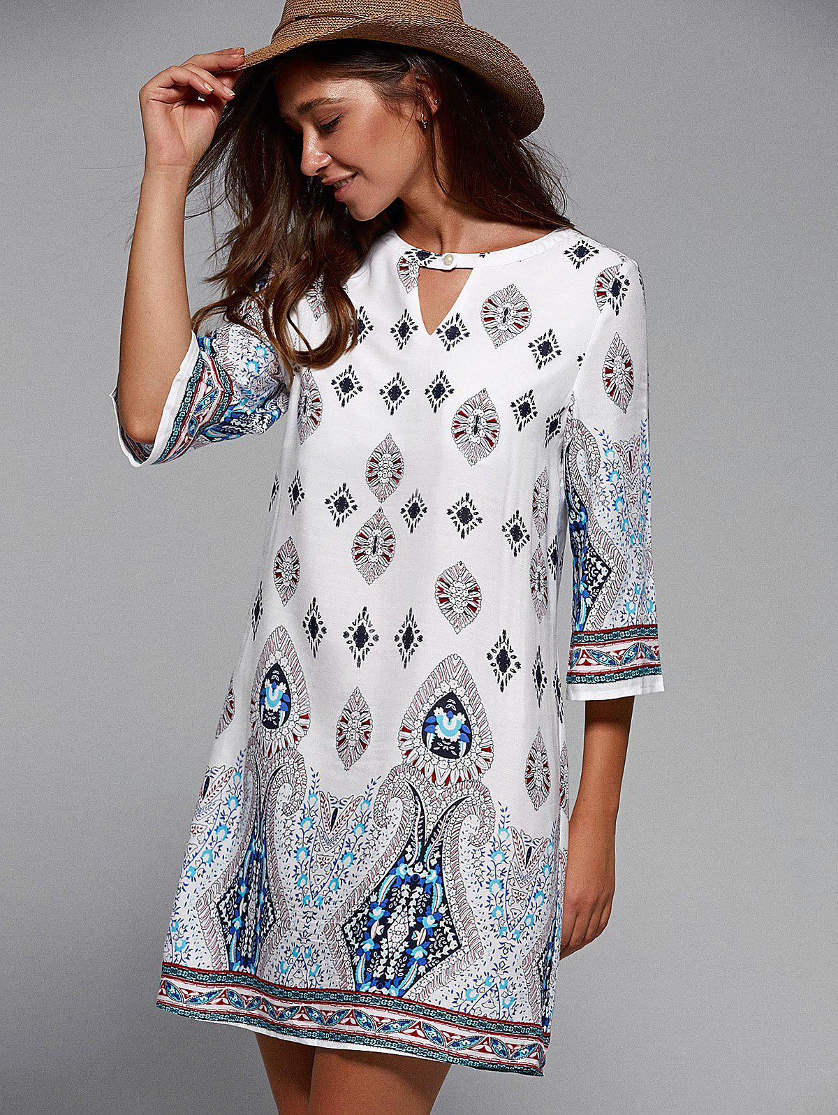 Half Sleeve Cut Out Tribal Print Dress - WHITE M