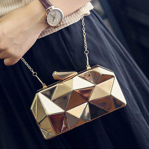 Fashionable Solid Color and Geometric Pattern Design Women's Evening Bag - GOLDEN
