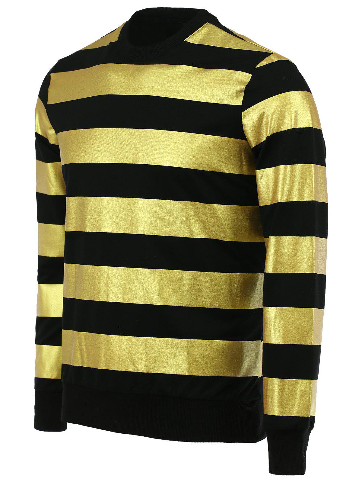 Fashion Round Neck Color Block Stripes Pattern Slimming Men's Long Sleeves Sweatshirt - BLACK XL