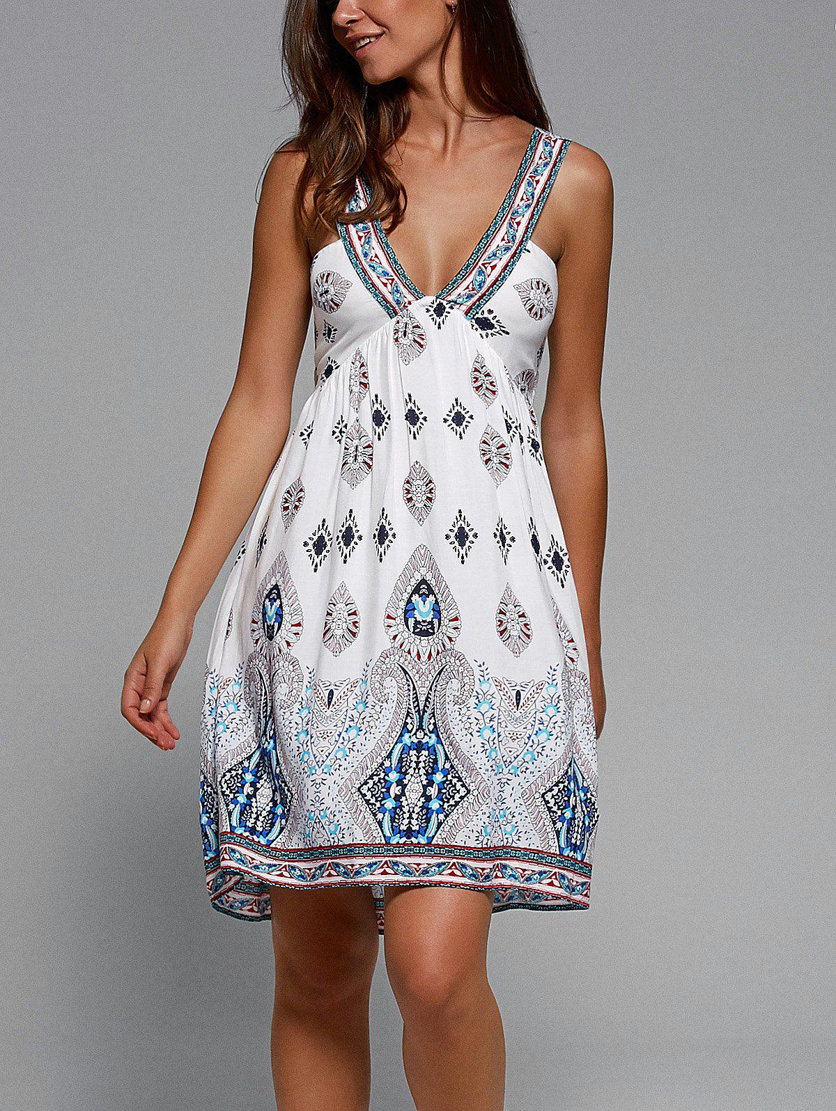 Plunging Neck Sleeveless Tribal Print Dress - WHITE XL